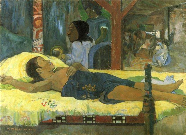 Сакральные картины < Рождение Христа Сына Божьего (Te tamari no atua) >  :: Поль Гоген [ живопись постимпрессионизм ] - Гоген Поль ( Paul Gauguin ) фото
