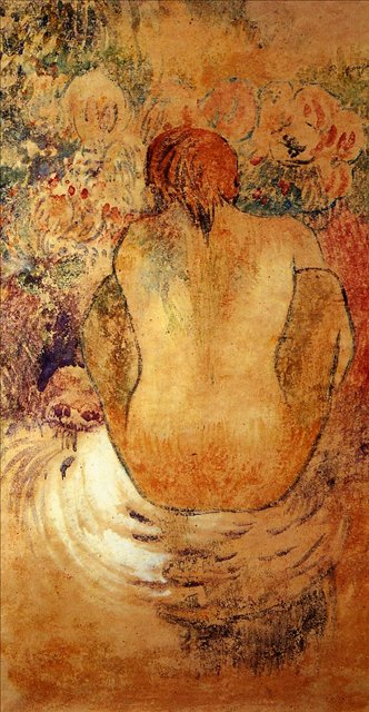 Картины Ню < Согнувшаяся женщина, вид со спины >  :: Поль Гоген [ живопись постимпрессионизм ] - Гоген Поль ( Paul Gauguin ) фото