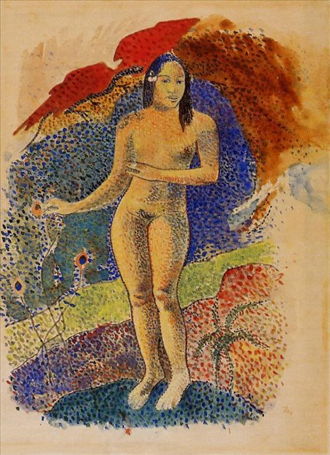 Картины Ню Nave nave feuna, L_Eve Tahitienne (Красивая земля, Таитянская Ева) :: Поль Гоген [ живопись постимпрессионизм ] - Гоген Поль ( Paul Gauguin ) фото