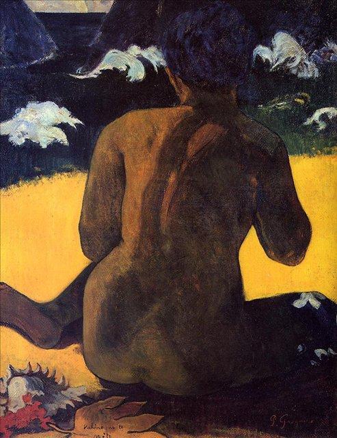 Картины Ню < Vahine no te Miti (Женщина у моря) >  :: Поль Гоген [ живопись постимпрессионизм ] - Гоген Поль ( Paul Gauguin ) фото