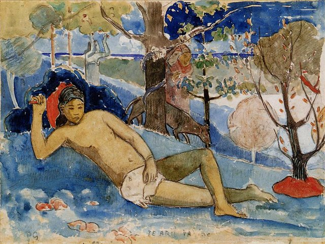 Картины Ню < Te Arii Vahine (Королева красоты) >  :: Поль Гоген [ живопись постимпрессионизм ] - Гоген Поль ( Paul Gauguin ) фото