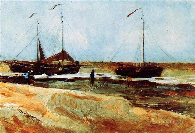 Пляж Шевенингена в тихую погоду [ картина -  речные и морские пейзажи ] :: Ван Гог, описание картины - Van Gogh фото