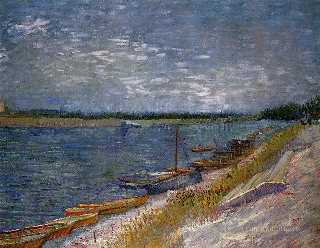 Вид на реку с вёсельными лодками [ картина - речные и морские пейзажи ] :: Ван Гог, описание картины - Van Gogh (Ван Гог) фото