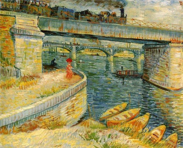 Мосты вдоль Сены на Асниере [ картина - мосты ] :: Ван Гог, описание картины - Van Gogh фото