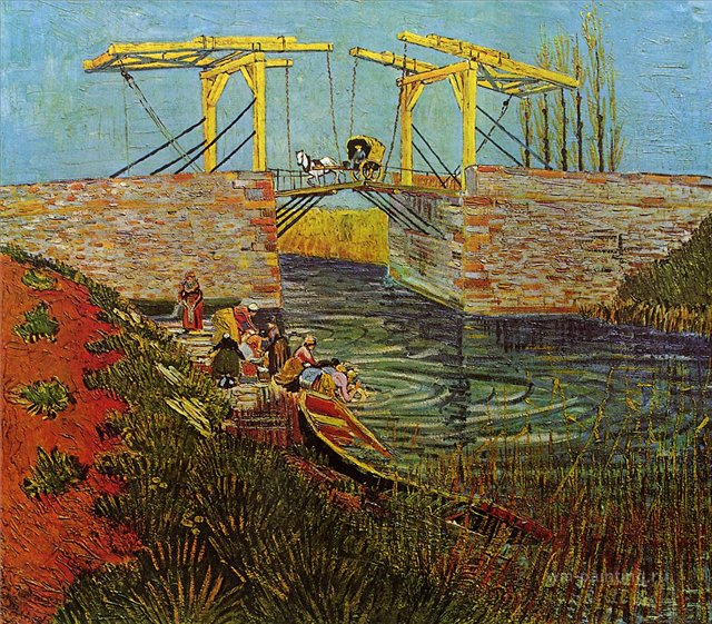 картина Мост Ланглуа в Арли [ картина - мосты ] :: Ван Гог, описание картины, плюс статья про подарки - Van Gogh (Ван Гог) фото