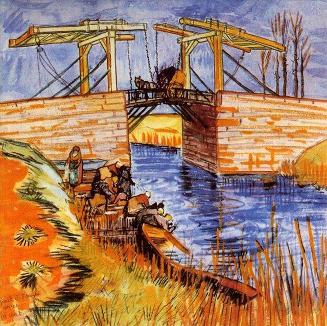 Мост Ланглуа в Арли [ картина - мосты ] :: Ван Гог, описание картины - Van Gogh фото