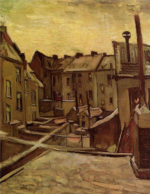 Задние дворы старых домов в заснеженном Антверпе [ картина - пейзаж ] :: Ван Гог, описание картины - Van Gogh фото