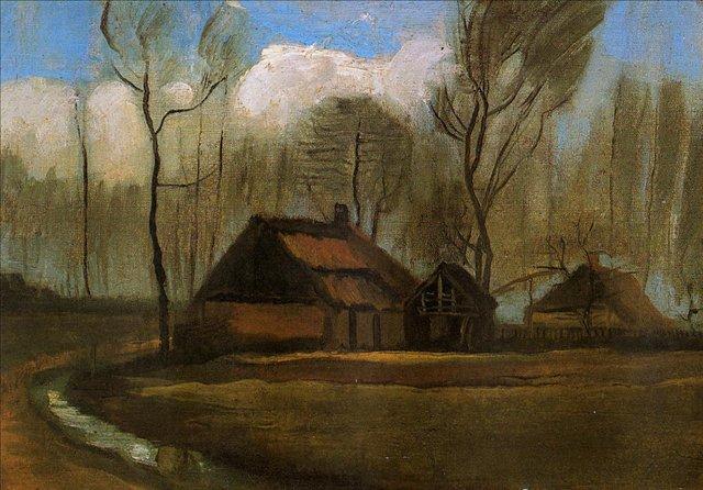 пейзаж Фермы между деревьев :: Ван Гог, описание картины - Van Gogh фото