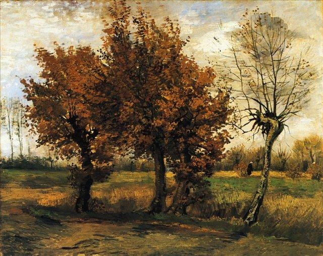 Осенний пейзаж, четыре дерева [ картина - пейзаж ] :: Ван Гог - Van Gogh (Ван Гог) фото