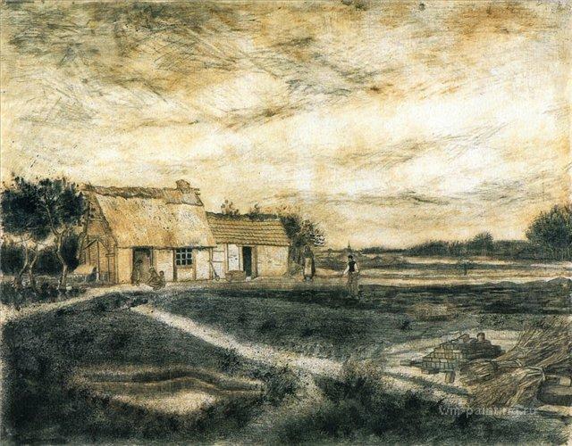Амбар с крышей из мха [ картина - пейзаж ] :: Ван Гог, описание картины - Van Gogh (Ван Гог) фото