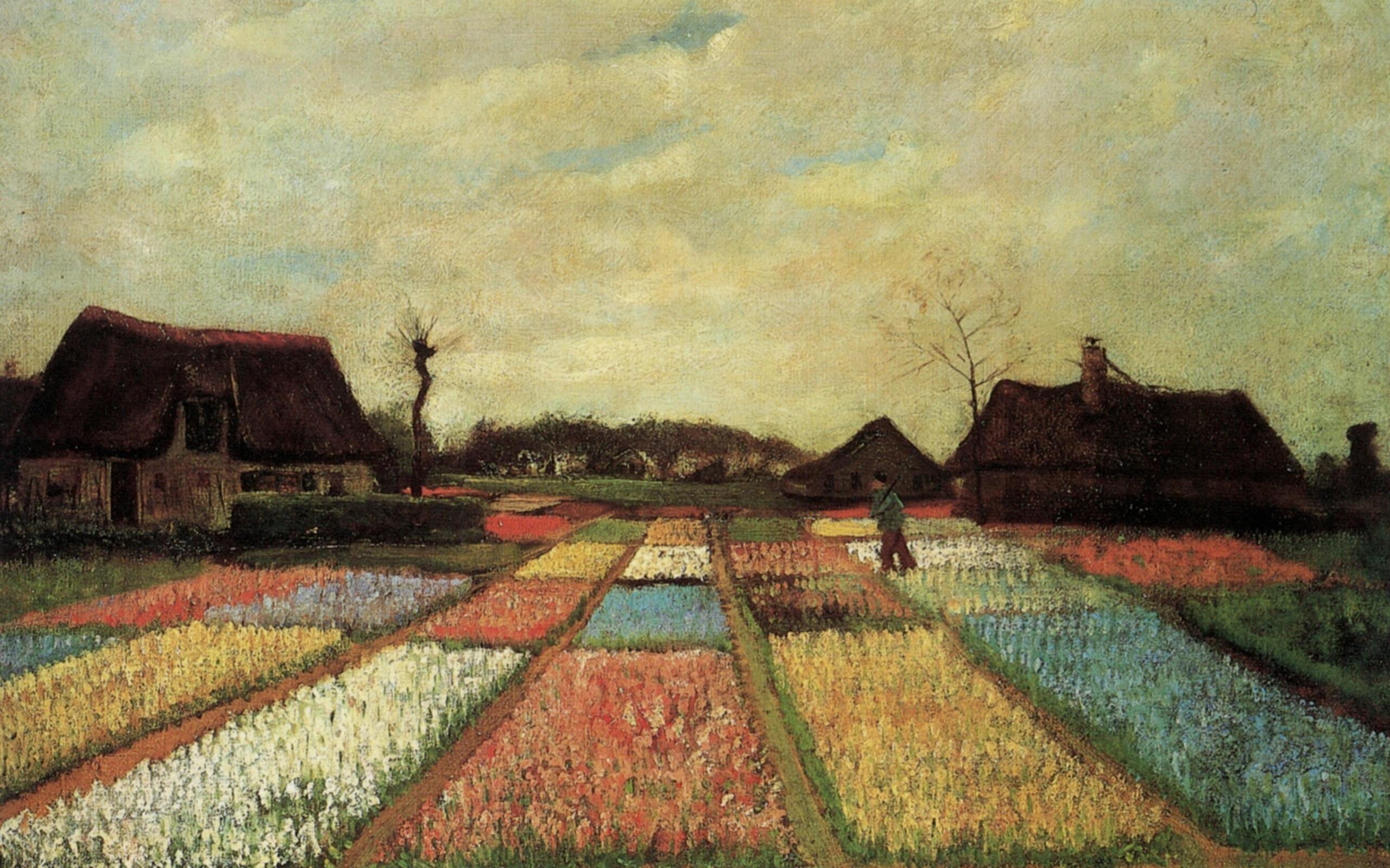 Поля тюльпанов (Цветочные клумбы Голландии)  :: Ван Гог, описание картины - Van Gogh фото