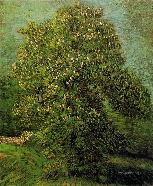 Каштан в цвету  [ картина - пейзаж ] :: Ван Гог, описание картины - Van Gogh фото