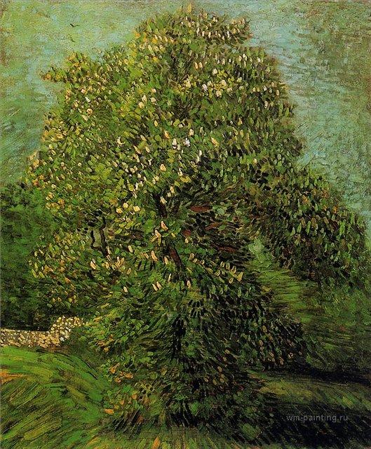Каштан в цвету  [ картина - пейзаж ] :: Ван Гог, описание картины - Van Gogh (Ван Гог) фото