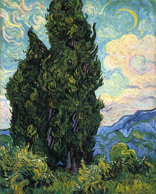 Кипарисы [ картина - пейзаж ] :: Ван Гог, описание картины - Van Gogh фото