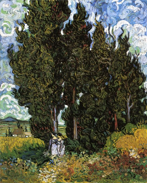 Кипарисы и две женщины [ картина - пейзаж ] :: Ван Гог, описание картины - Van Gogh фото