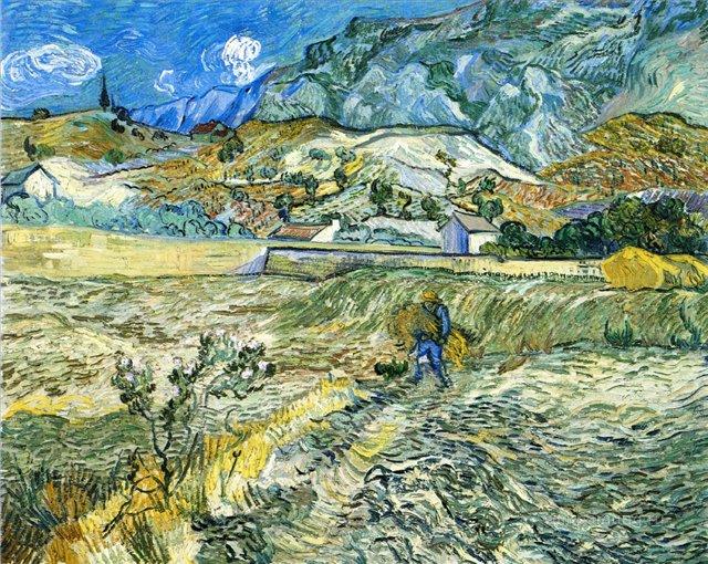 Крестьяне в поле (Пейзаж Сен-Реми) :: Ван Гог, описание картины, плюс статья про подарки  - Van Gogh фото