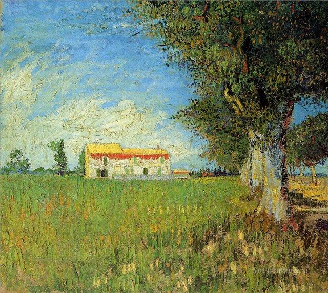 Ферма в пшеничном поле [ картина - пейзаж ] :: Ван Гог, описание картины - Van Gogh фото