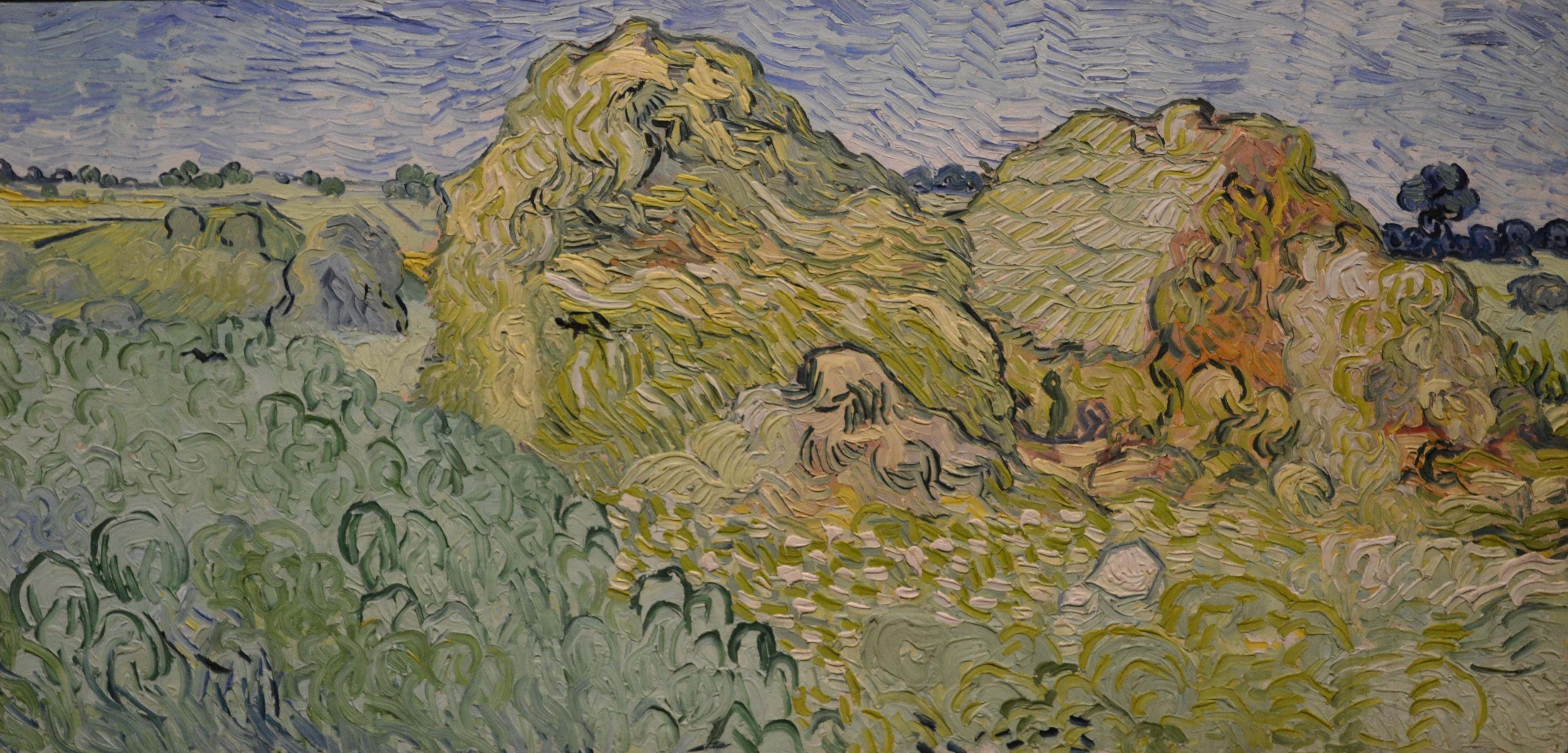 Поле со скирдами пшеницы [ картина - пейзаж ] :: Ван Гог, описание картины - Van Gogh фото