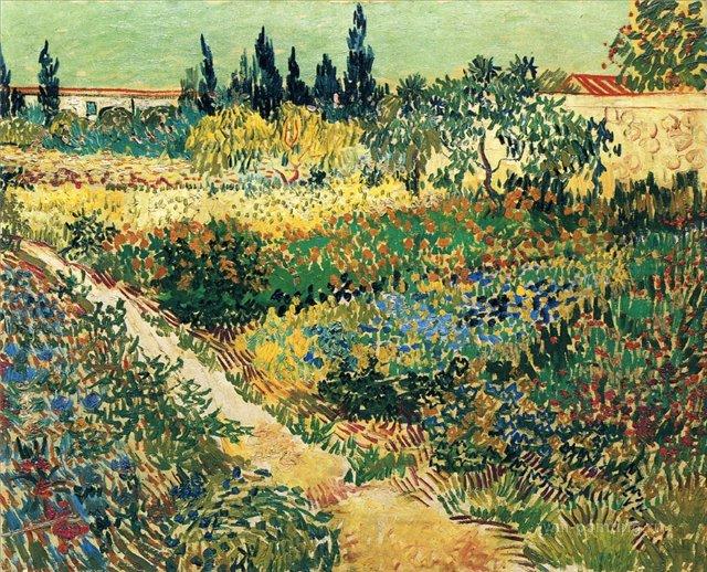 Сад с цветами [ картина - пейзаж ] :: Ван Гог, описание картины - Van Gogh фото