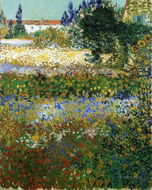 пейзаж Сад с цветами :: Ван Гог, описание картины - Van Gogh фото