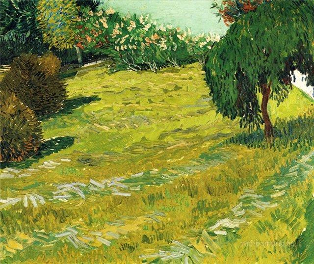 Сад с плакучей ивой [ картина - пейзаж ] :: Ван Гог, описание картины - Van Gogh (Ван Гог) фото