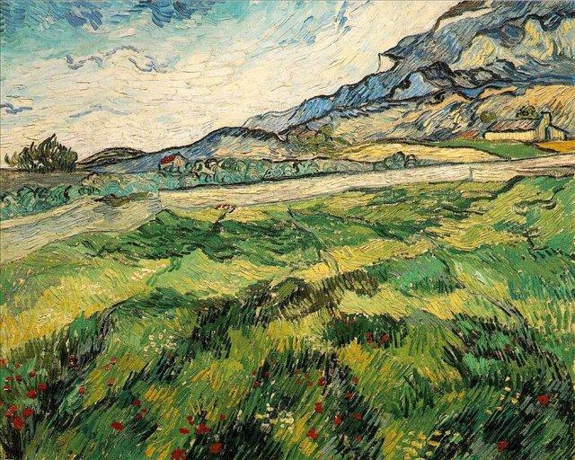 Поле с зелёной пшеницей [ картина - пейзаж ] :: Ван Гог, описание картины - Van Gogh (Ван Гог) фото