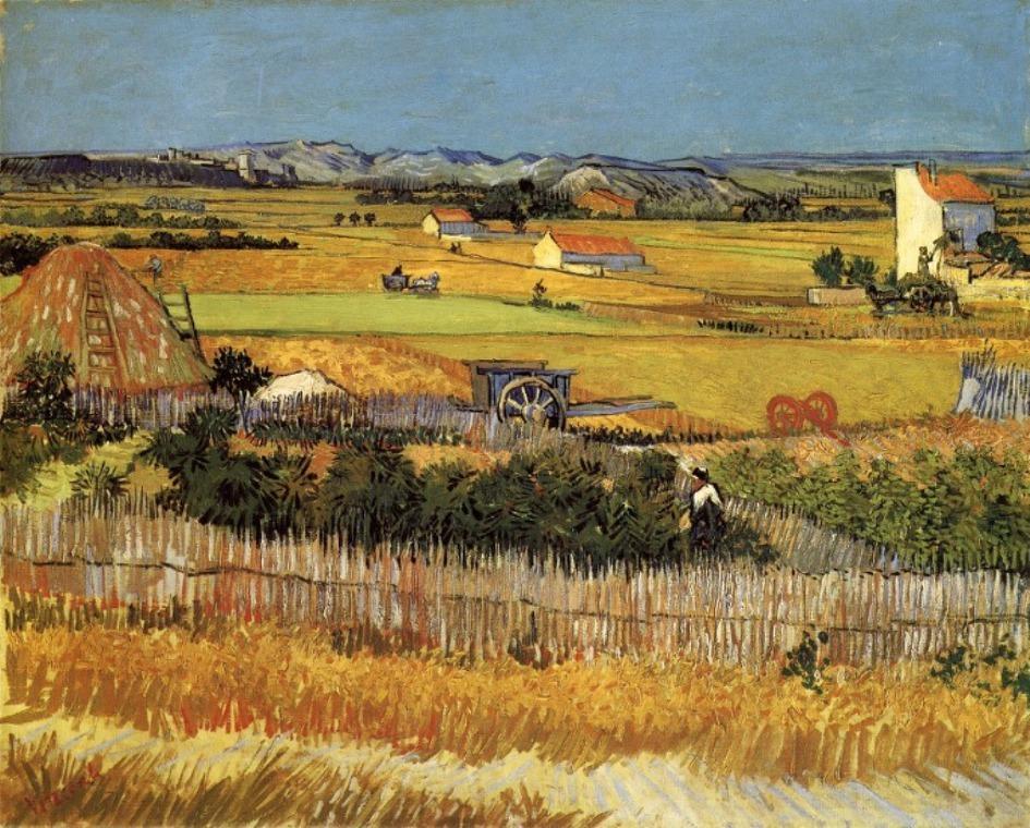 Пейзаж со сбором урожая и голубой повозкой [ картина - пейзаж ] :: Ван Гог, описание картины - Van Gogh фото