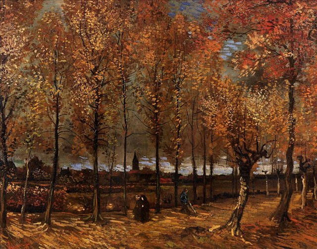 пейзаж Тропинка с тополями:: Ван Гог, описание картины - Van Gogh фото