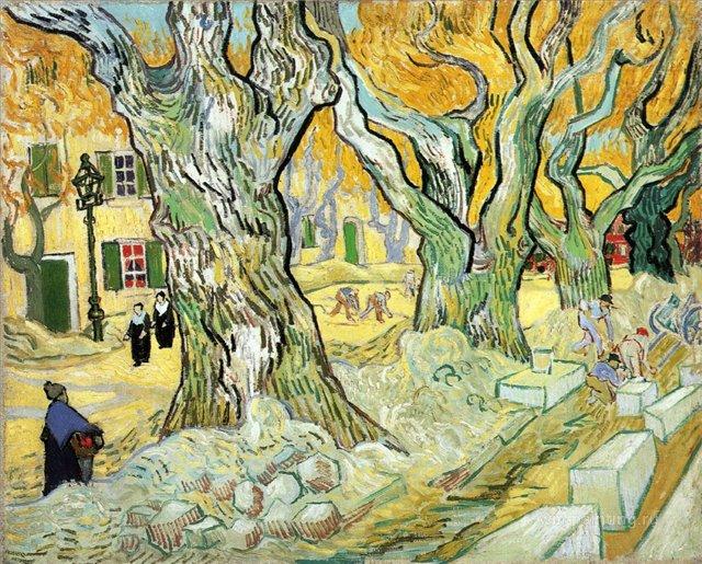 Большой платан (Ремонтник дороги) [ картина - пейзаж ] :: Ван Гог, описание картины - Van Gogh (Ван Гог) фото
