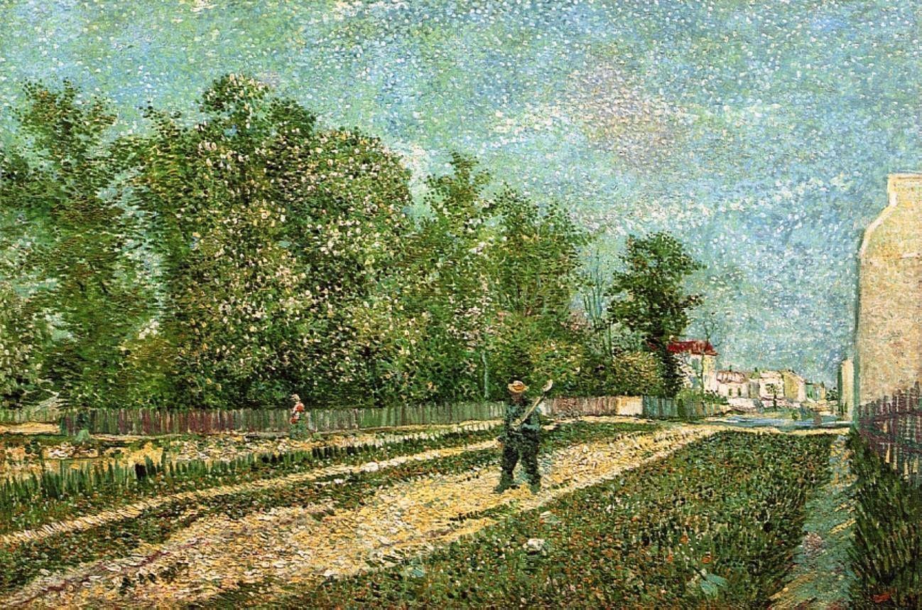 Мужчина с лопатой на окраине Парижа[ картина - пейзаж ] :: Ван Гог, описание картины - Van Gogh фото