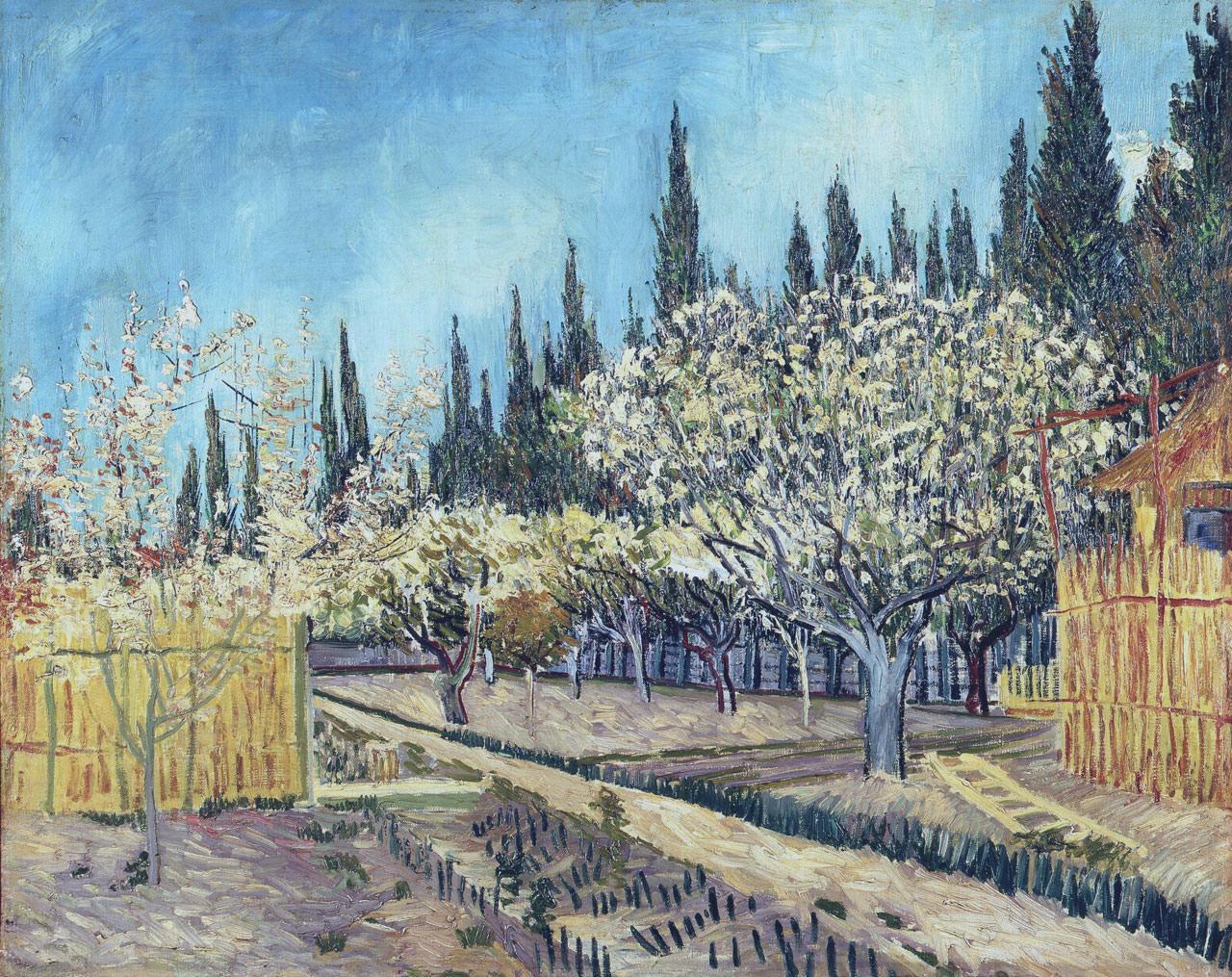 Сад, окружённый кипарисами [ картина - пейзаж ] :: Ван Гог, описание картины - Van Gogh фото