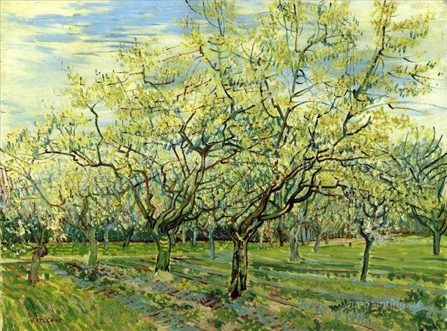 Сад с цветущей сливой [ картина - пейзаж ] :: Ван Гог, описание картины - Van Gogh (Ван Гог) фото