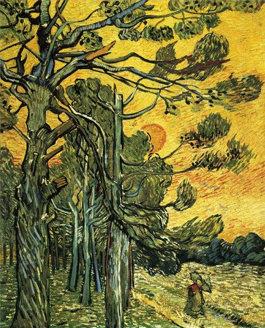 Сосна под вечерним небом (Сломанная сосна)[ картина - пейзаж ] :: Ван Гог, описание картины - Van Gogh фото