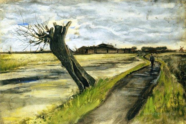 Ива без ветвей[ картина - пейзаж ] :: Ван Гог, описание картины - Van Gogh (Ван Гог) фото
