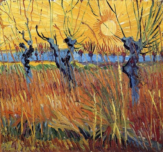 пейзаж Постриженные ивы на закате :: Ван Гог, описание картины - Van Gogh фото