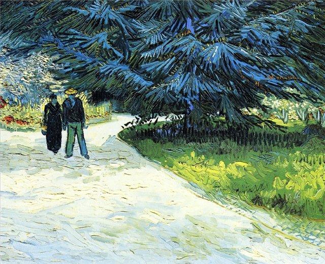 Пара в саду и голубые пихты [ картина - пейзаж ] :: Ван Гог, описание картины - Van Gogh фото