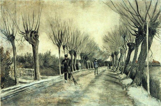 Дорога с голыми ивами и мужчина с метлой [ картина - пейзаж ] :: Ван Гог, описание картины - Van Gogh фото