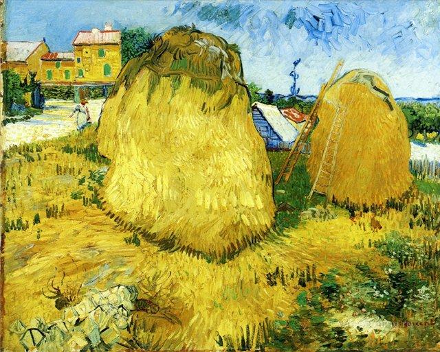 Скирды пшеницы возле фермы [ картина - пейзаж ] :: Ван Гог, описание картины - Van Gogh фото