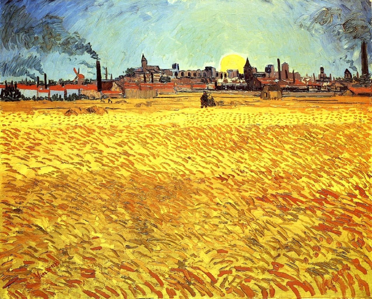 Летний вечер (Пшеничное поле в лучах заходящего солнца)[ картина - пейзаж ] :: Ван Гог, описание картины - Van Gogh (Ван Гог) фото