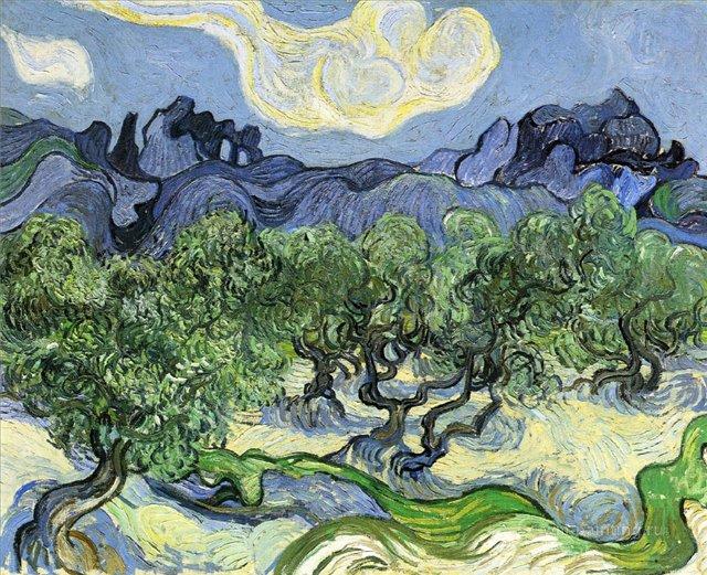 Альпы и оливковые деревья на переднем плане[ картина - пейзаж ] :: Ван Гог, описание картины - Van Gogh фото
