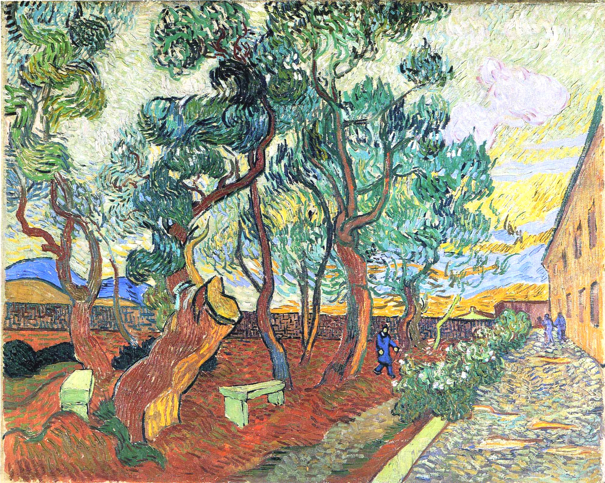Сад при приюте в Сан-Реми [ картина - пейзаж ] :: Ван Гог, описание картины - Van Gogh фото