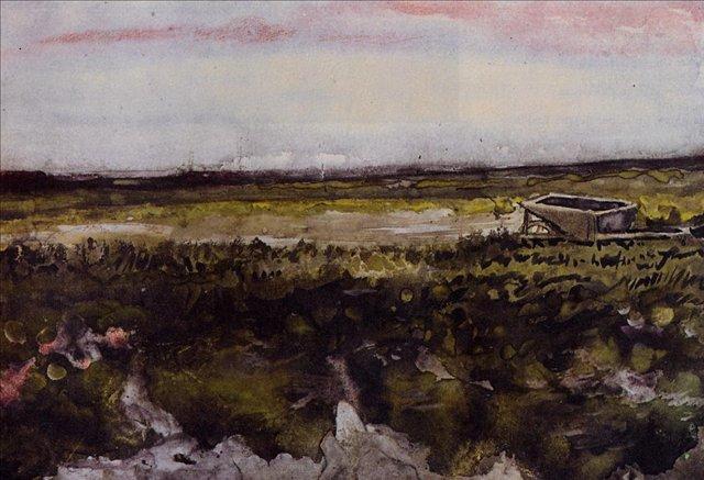 Пустошь и тачка [ картина - пейзаж ] :: Ван Гог, описание картины - Van Gogh фото