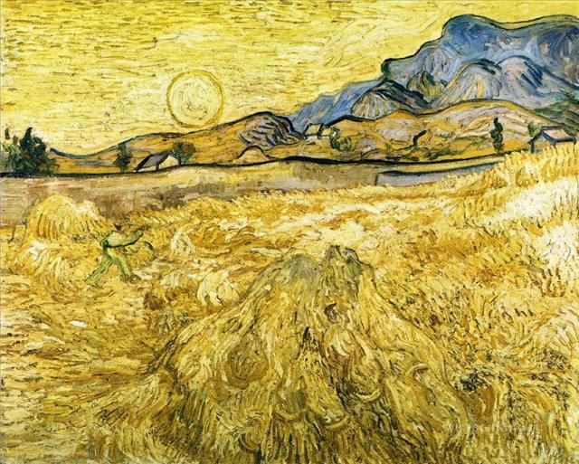 Жнец ( Огороженное поле)[ картина - пейзаж ] :: Ван Гог, описание картины - Van Gogh фото