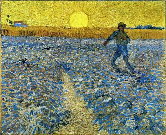Сеятель (Сеятель на закате) [ картина - пейзаж ] :: Ван Гог, описание картины - Van Gogh (Ван Гог) фото