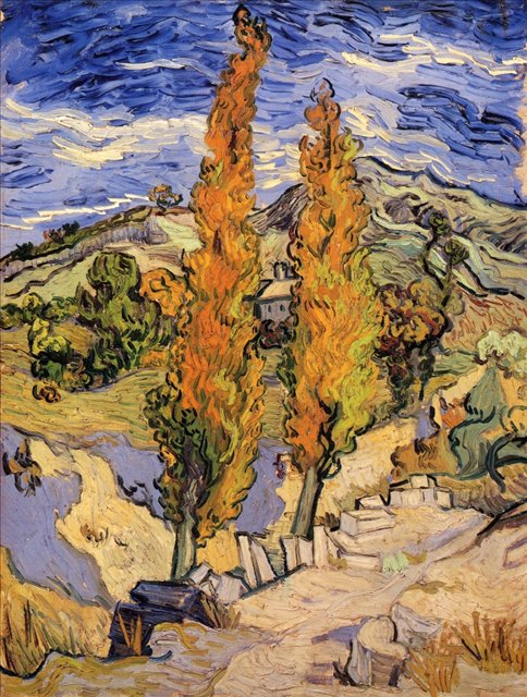 Два тополя на холме [ картина - пейзаж ] :: Ван Гог, описание картины - Van Gogh фото