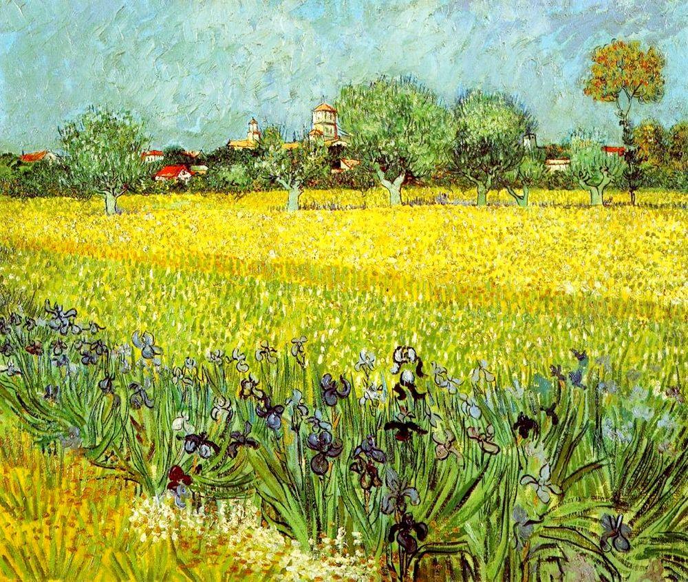 Виды Арли с ирисами [ картина - пейзаж ] :: Ван Гог, описание картины - Van Gogh (Ван Гог) фото