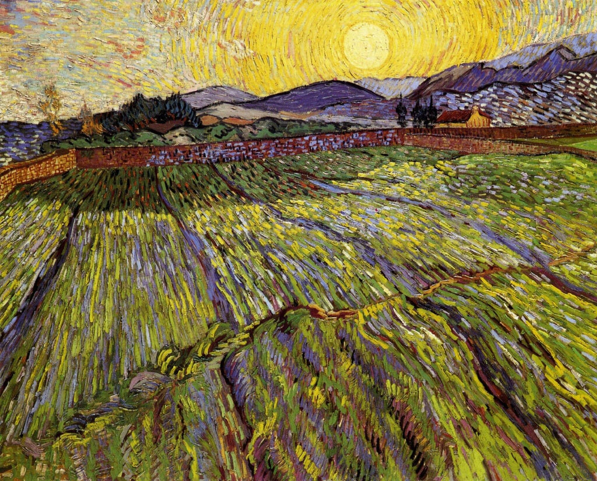 Пшеничное поле с восходом солнца [ картина - пейзаж ] :: Ван Гог, описание картины - Van Gogh (Ван Гог) фото
