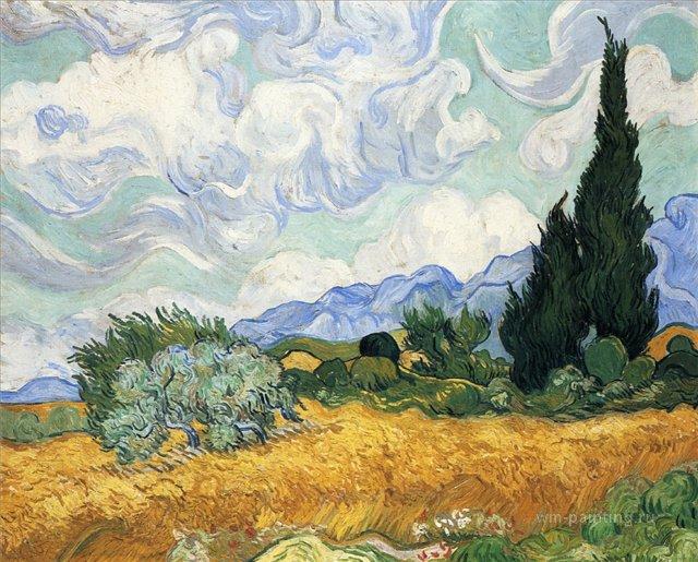 Пшеничное поле с кипарисами [ картина - пейзаж ] :: Ван Гог, описание картины - Van Gogh фото