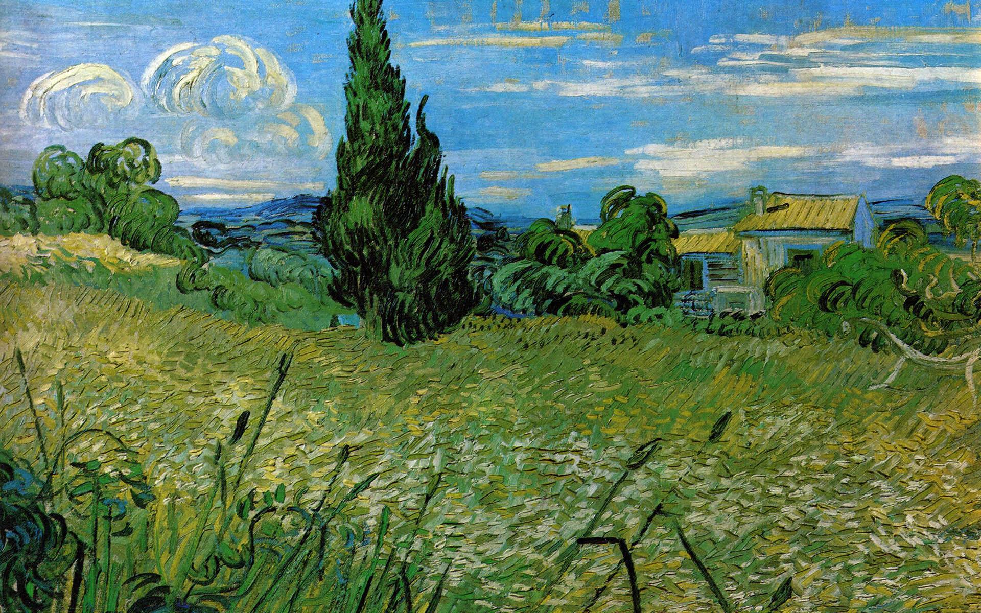 картина Пшеничное поле с кипарисами [ картина - пейзаж ] :: Ван Гог, описание картины, плюс статья про арт подарки - Van Gogh (Ван Гог) фото