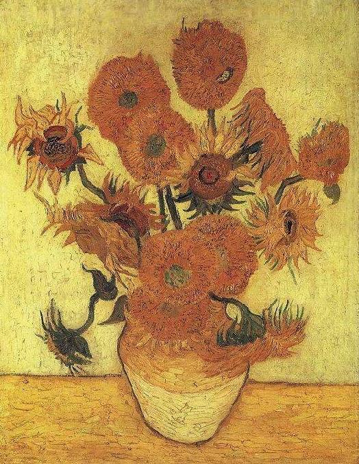 Натюрморт - ваза с пятнадцатью подсолнухами :: Ван Гог, описание картины - Van Gogh фото